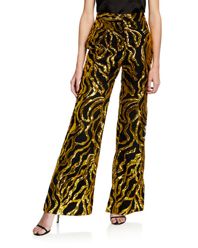 Sequined Stovepipe Trousers