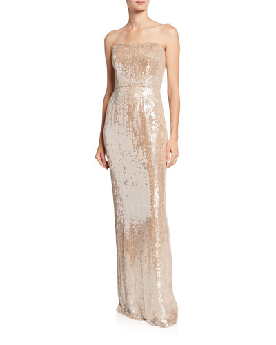 Strapless Sequined Column Gown