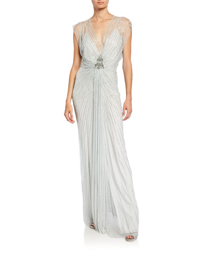 Amelie Sequined Knotted Chiffon Gown