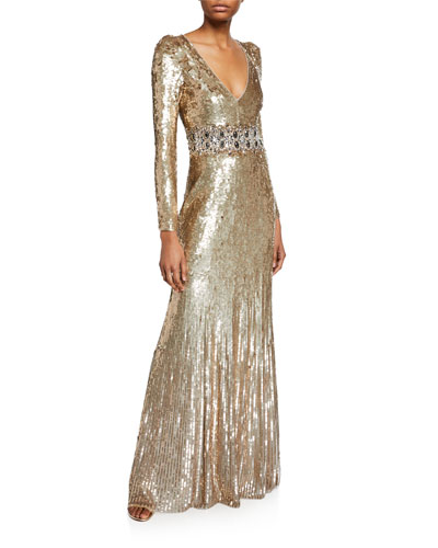 Lexie Sequined V-Neck Gown