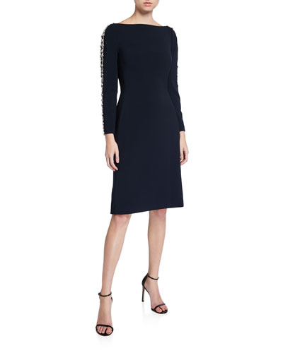 Marnie Boat-Neck Dress with Embellished-Sleeve
