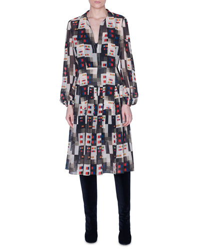 Colorama Print Floaty Tie-Neck Dress