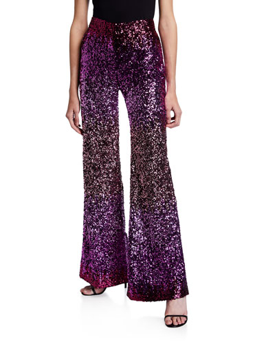 Degrade Sequined Stovepipe Trousers