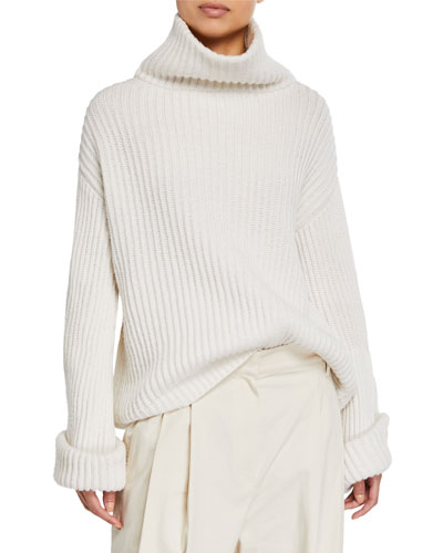 Cashmere Jewel-Cuffed  Turtleneck Sweater