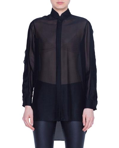 Semisheer Button-Front Shirt