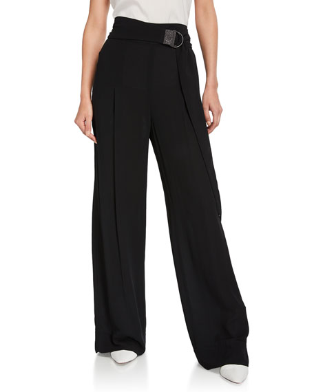 Brunello Cucinelli Monili-Tabbed Wide-Leg Silk Evening Pants