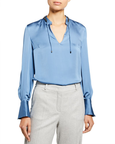 Silk Satin Monili Tie-Neck Blouse