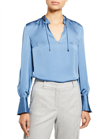 Brunello Cucinelli Silk Satin Monili Tie-Neck Blouse