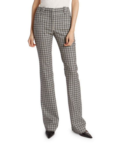 Plaid Wool High-Rise Flare Pants
