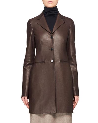 Nedifa 3-Button Leather Coat