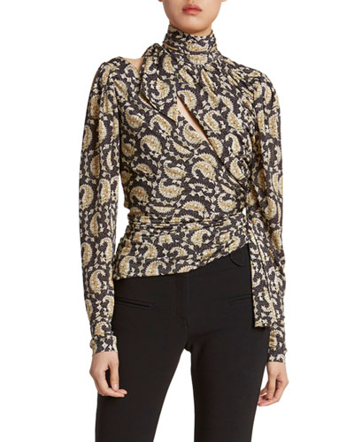 Paisley High-Neck Slash-Front Top