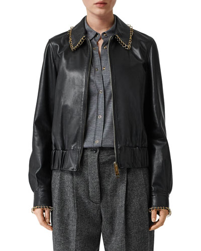 Ring-Trimmed Leather Aviator Jacket