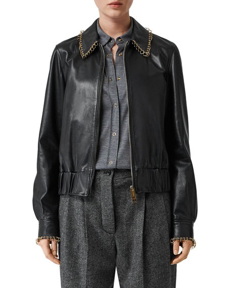 Burberry Ring-Trimmed Leather Aviator Jacket