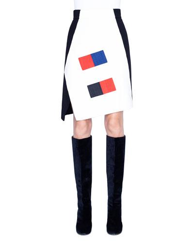 Cashmere Horsehair Trim Asymmetric Skirt