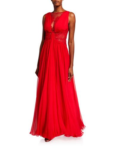 Kenpu Lace-Trim Pleated-Chiffon Gown