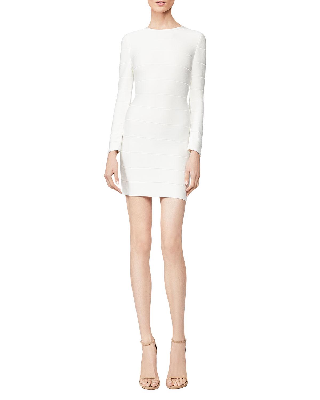 Crewneck Long-Sleeve Short Ponte Dress