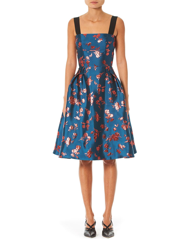 Carolina Herrera Dresses METALLIC FLORAL BROCADE A-LINE DRESS