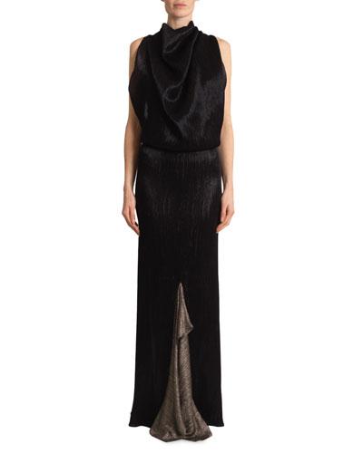Nola Metallic Plisse Chainmail Gown