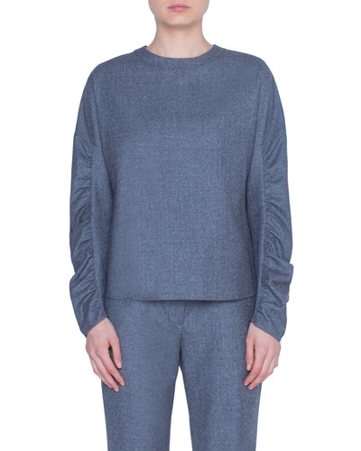 Wool Ruched-Sleeve Crewneck Blouse