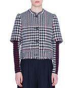 Akris punto 1/2-Sleeve Glen-Check Snap-Front Jacket