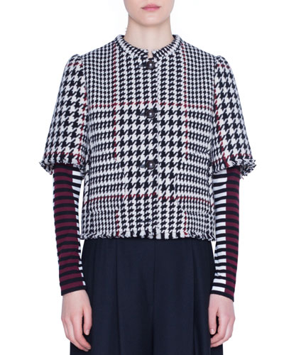1/2-Sleeve Glen-Check Snap-Front Jacket