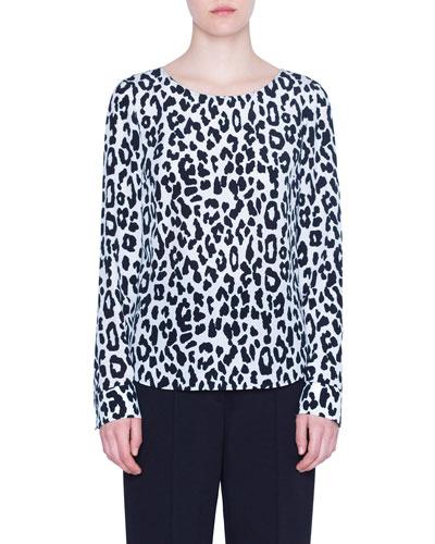 Super Leopard-Print Silk Blouse
