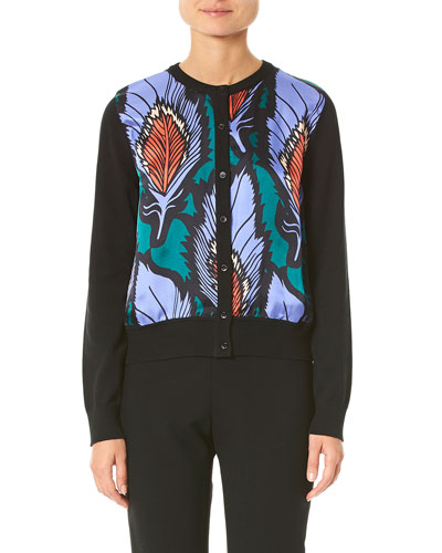 Feather-Printed Silk-Panel Cardigan