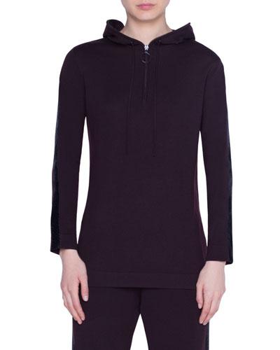Shimmer-Striped Wool Hoodie Sweater