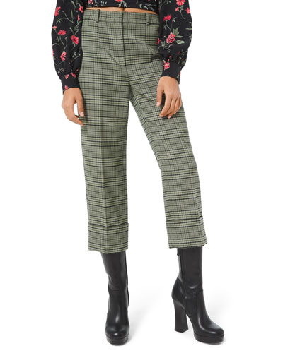 Plaid Stretch-Wool Cropped Pants
