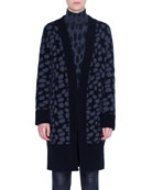 Akris punto Animal-Print Wool Shawl Cardigan
