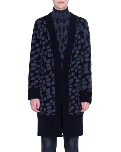Animal-Print Wool Shawl Cardigan