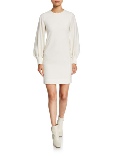 Crepe Blouson-Sleeve Sheath Dress