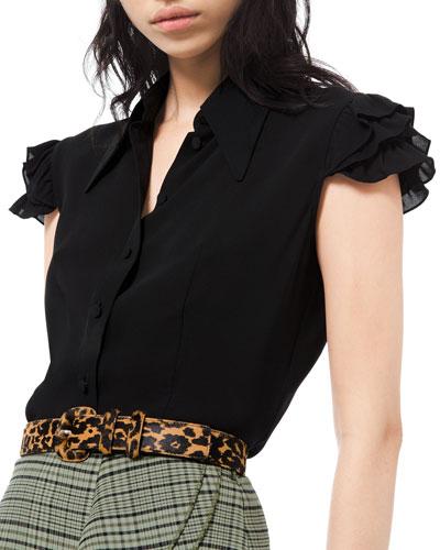 Silk Georgette Mini Ruffle Sleeve Dress