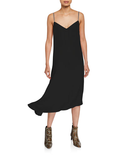 Asymmetric Crepe Cocktail Dress