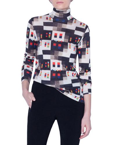 Jersey Rolled-Trim Turtleneck Sweater