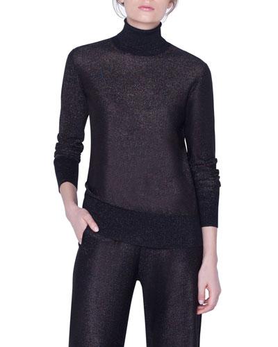 Shimmer Silk Turtleneck Sweater