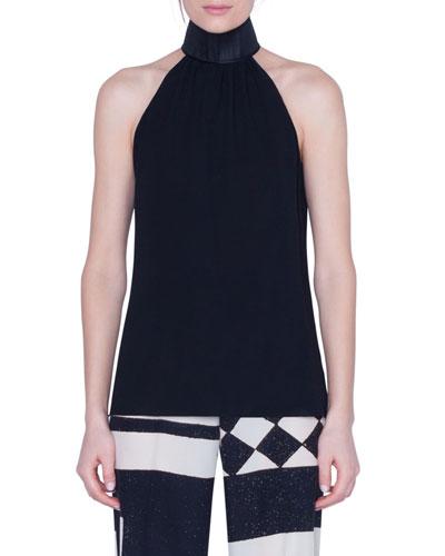 Silk Halter Top with Horsehair Collar