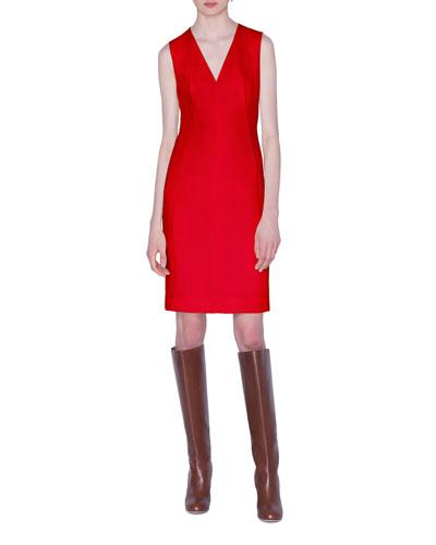 Sleeveless V-Neck Wool-Crepe Dress