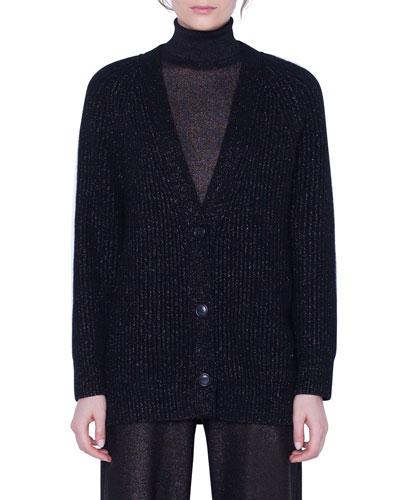 Cashmere Shimmer Button-Front Cardigan