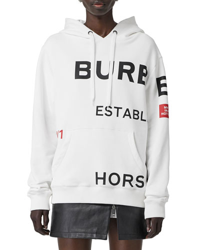 Horseferry-Print Cotton Oversized Hoodie