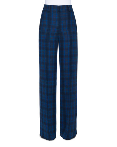 Plaid Silk High-Rise Flare Pants