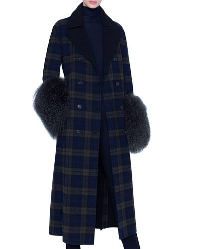 Plaid Quilted Wool Lamb-Cuff Coat