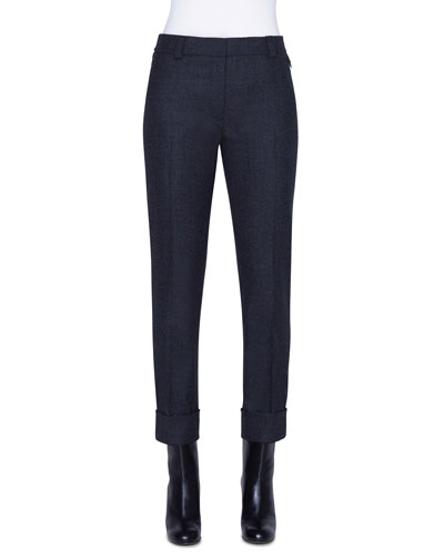 Stretch Wool Flannel Ankle Pants