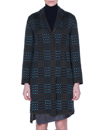St. Gallen Embroidered Wool-Silk Knee Length Coat