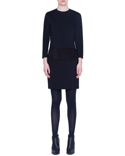 Fringe-Hem Jersey Bracelet-Sleeve Shirt