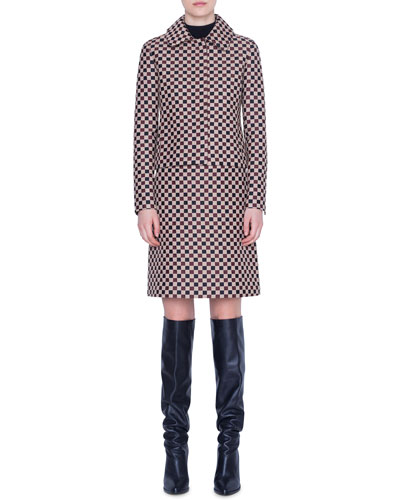 Chess Checked Jacquard Short Jacket