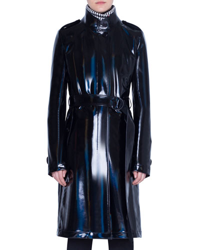 Lacquered Wool Trench Coat