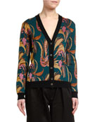 Double J Floral Intarsia Wool-Silk Cardigan & Matching