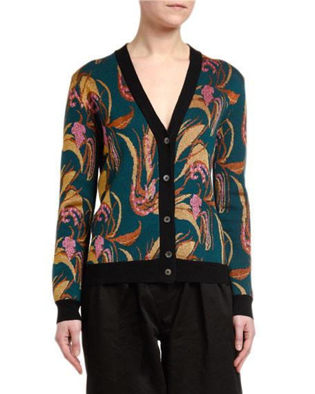 Double J Floral Intarsia Wool-Silk Cardigan