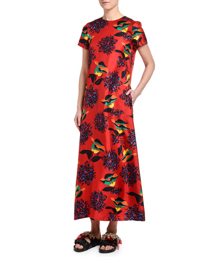 Floral-Print Silk Swing Dress